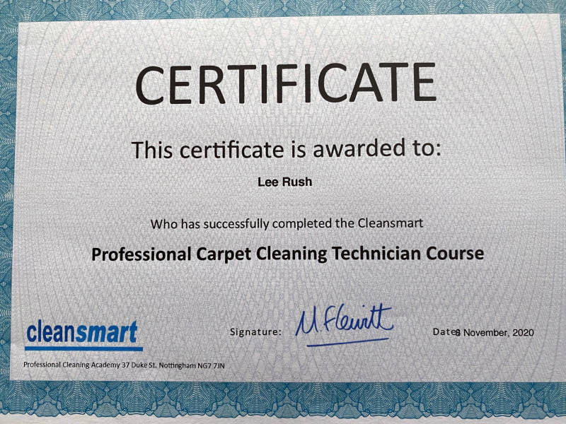 Cleansmart Cleaning Certificate